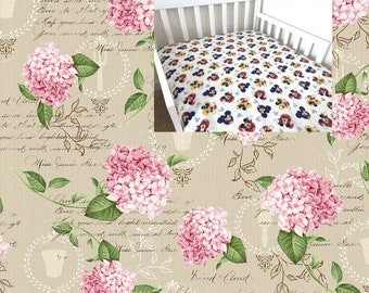 Pink Floral Cotton Fitted Crib Sheet Floral Nursery Bedding Sheet Changing Pad Cover Cradle Mini Crib Toddler Crib Twin Sheet