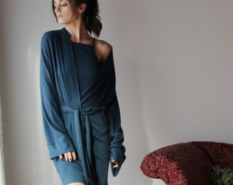 short cozy robe in wool sweater blend - lounge wear lingerie and sleepwear range MALLARD - made to order