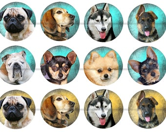 "1"" Inch Dog Flatback Buttons, Pins or Magnets 12 Ct."