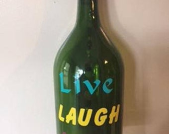 Wine Bottle Wind Chime Live Laugh Love