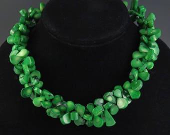 Modern Sterling Silver Green Coral Fan Design Necklace