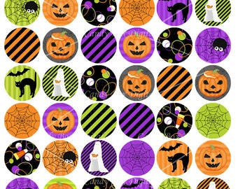 Halloween 1 Inch Bottlecap Circles, One Inch Bottle Cap Circle Collage Sheet - Commercial Use OK