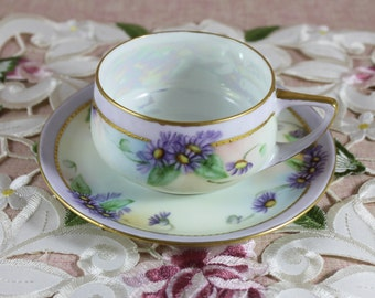 Vintage Rosenthal Donatella Bone China Teacup and Saucer Set, Luster Ware,  Purple Daisies, Vintage from 1920s