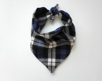 Plaid Bandana - Blue, Black, White