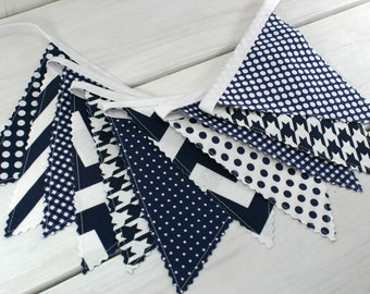 Garland Bunting Banner Baby Boy Nursery Decor Baby Shower Photography Props Party Decorations Wall Decor Navy Blue Chevron