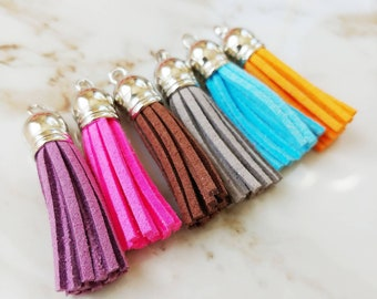 Silver Capped Leather Tassel // 1 PC