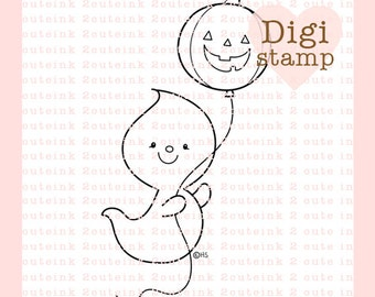 Balloon Ghost Digital Stamp - Halloween ghost digital art for - Card Making - Paper Crafts - Scrapbooking - Stickers - Coloring Pages