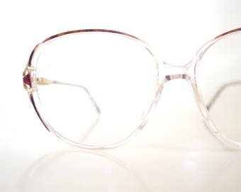 1980s Clear Retro Glasses Womens Eyeglasses Metallic Golden Gold Oversized Ladies Huge Optical Frames 80s Eighties Indie Hipster Chic