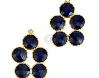 Sapphire Gemstone Bezel Component, Gold Plated Connector, Bezel Setting, 24k Gold Plated, Boho Jewelry Supply, GemMartUSA (GPSH-13003)