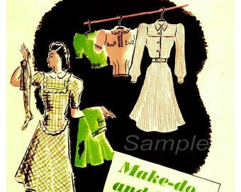 Vintage Make do and Mend War Poster Print
