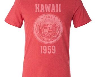 Hawaii State Seal T-Shirt. Vintage Style Soft Retro Hawaiian Shirt Unisex Men's Slim Fit and Women's Tee
