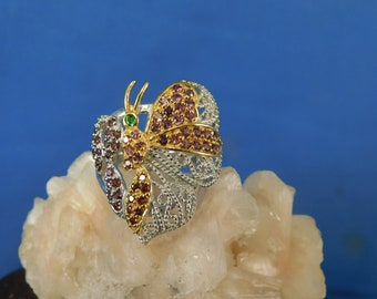Emerald and Garnet Clustered Butterfly Ring Sterling Silver