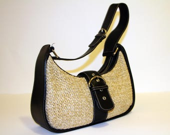 Bolzano black leather and straw hobo handbag