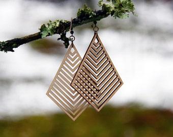 Geometric Laser Cut Wood Earrings