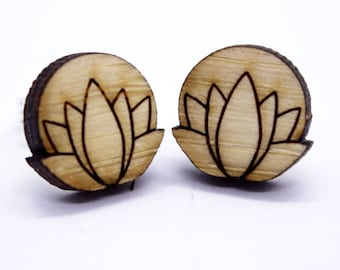 Earrings wooden lotus for women, Yoga stud jewelry, Zen Boho earrings, Gift for friends birthday, Bridesmaid posts, Present for yoga teacher