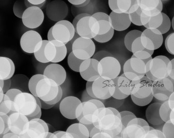 Twinkle Lights : abstract photography monochrome geometric circle bokeh gray black white modern home decor 8x10 11x14 16x20 20x24 24x30