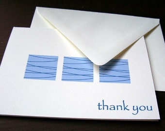 Thank You Cards - Blue Squares
