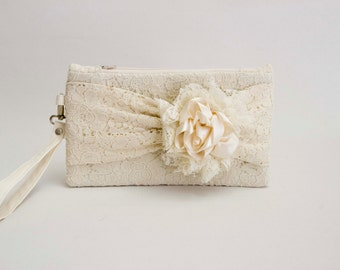 Bridesmaid clutch champagne lace  with bow wristlet lace clutch an flower ,bridesmaid gift ,wedding gift ,zipper pouch