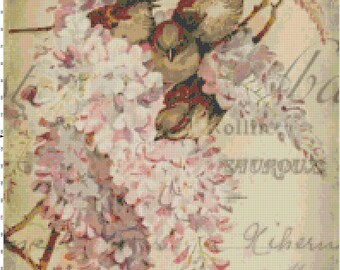 French Sparrows in the Flowers Collage PDF Cross-Stitch Pattern