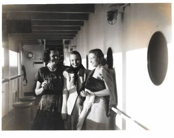 "Vintage Snapshot ""Shipboard Fun"" Laughing Women Porthole Cruise Ship 1940's Fashion Style Found Vernacular Photo"