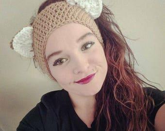 Crochet Toasted Almond Kitty Ear Warmers