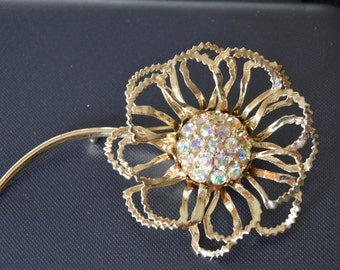 Sarah Coventry Allusion, Aurora Borealis Rhinestone Flower Brooch, Vintage, Late 1960's