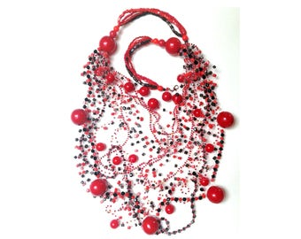BOHO NECKLACE Long Statement necklace folk jewelry ethnic red bead Crochet Long beaded necklace MultiStrand Necklace red black necklace