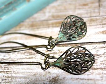 Patina Dangle Earrings, Boho Earrings,Patina Jewelry,Verdigris Patina, Summer Earrings, Lacy Filigree Earrings, Gift for her