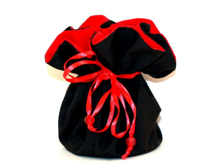 RED and BLACK Fabric Jewelry Organizer ~ Pouch ~ Storage Case ~ Bag ~ Tote - Bell Art Designs ~ Medium JBMD0426