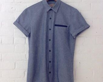 Blue Cotton Oxford Buttondown with Contrast Navy Welt Pocket // Medium