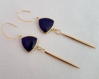 Blue Dangle Earrings with Gold Darts