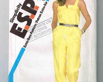 """Uncut Vintage Misses' Summer Jumpsuit Pattern Simplicity #5825, Sizes 12, 14, 16, EUR 40, 42, 44, Chest 34 1/4"""" - 38"""" (87 - 97cm)"""