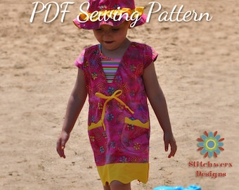 Swim Cover-Up, PDF Sewing Pattern, Baby Sewing Pattern, Child Sewing Pattern, Beach Cover Up, Beachwear, Sewing Pattern