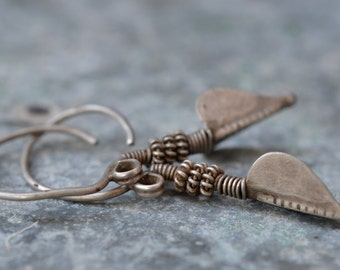 Old tribal pure silver long rod earrings with disc and wrapped wire vintage antique Indian