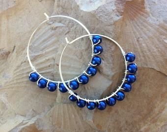 Silver Hoops with Blue bead earrings