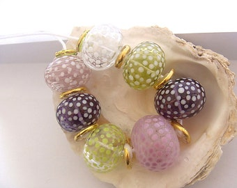 7 Hollow Beads & 8 Golden Spacers Handmade Lampwork