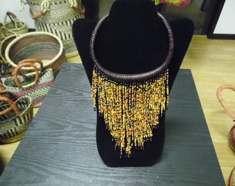 African Leather Beaded Necklace