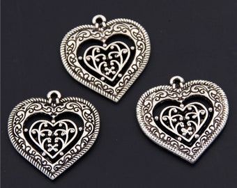 20pcs Antique Silver Double Heart Charms Pendant A2436