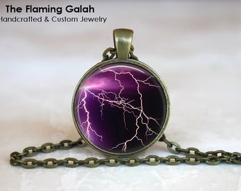 PURPLE LIGHTENING BOLT Pendant •  Purple Sun Set •  Lightening Storm •  Purple Lightening • Gift Under 20 • Made in Australia (P0306)