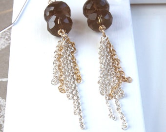 Long Tassel  Earrings  Mixed Metal Jewelry Long Smoky Quartz  Earrings Brown Gemstone Jewelry  Gold  And Silver Gifts For Women