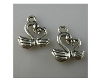 12 or 50 SWAN Charms Lovebird or Mother and Child  3 D Small Love Bird Jewelry Supplies 15x13mm