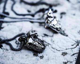 Anatomical Heart Necklace - (Sterling Silver 925, Made in Italy )