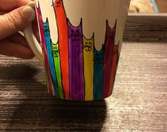 Handmade cat sharpie mug! Adorable! Can customize colors. Great gift!