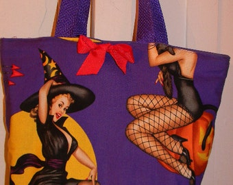 Sexy Purple Bewitched Bewitching Retro Pinup Devil Moon Purse Tote BAG or Diaperbag