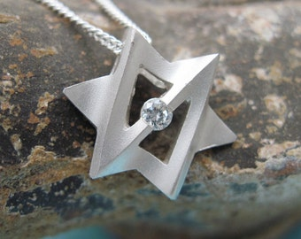 Star of David Sterling Silver, Magen David with CZ, Galaxtica Jewish Star Pendant with Chain, from our Yonatan Collection of Judaic Jewelry