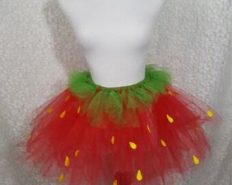 Strawberry Tutu Set, ADULT Strawberry Costume, Fruit Costume, Cosplay, Party Tutu, Halloween Costume, Teen Tutu, Adult Costume, Photo Prop