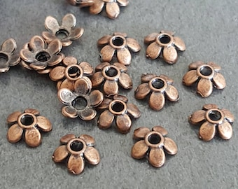 copper bead caps, bead caps for beads, small cups, 50 cups copper flower caps metal bead Cup cups 6/7 mm