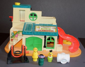 Vintage Fisher Price Little People #937 Sesame Street Clubhouse 1977