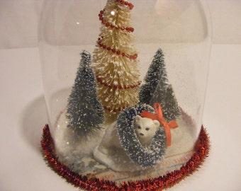 Polar Bear Cub Wreath Christmas Cloche Ornament OOAK