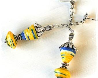 Colorful ethnic earrings, Long yellow festival earrings, Gypsy earrings, Hippie earrings, Bohemian tribal earrings, Paper jewelry